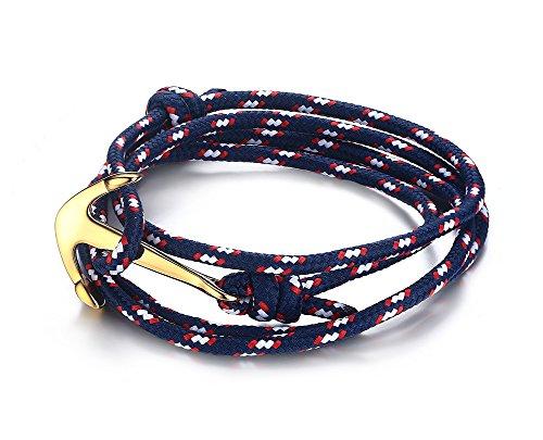 Vnox Acciaio inossidabile delle donne blu scuro di nylon corda intrecciata uomo Maritime Anchor vichingo spostano il braccialetto,oro