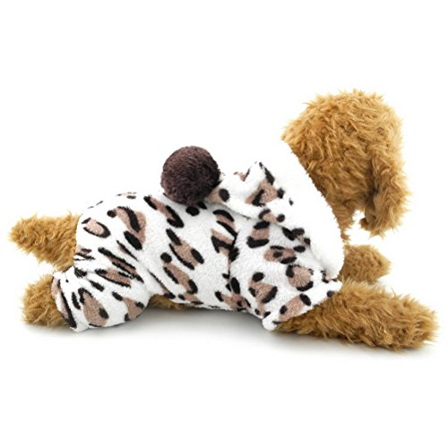 ZUNEA Leopard Samt Weiche Kleine Hund Katze Pyjamas Overall Mit Kapuze Winter Warme Haustier Mantel Schneeanzug Comfy Bichon Pudel Kleidung Outfits M