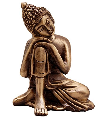 eCraftIndia Resting Buddha on Knee Metal Showpiece (7.5 cm x 5.38 cm x 9.38 cm, Brown, AGB506)