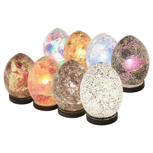 Febland Table Lamp - Mini Mosaic Egg Light - Decorated Glass - Amber