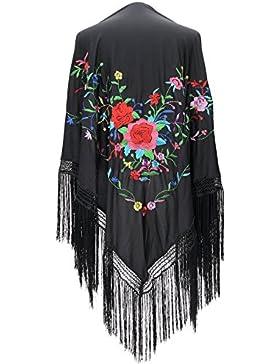 La Señorita Mantones bordados Flamenco Manton de Manila Grande negro flores de colores flecos negro