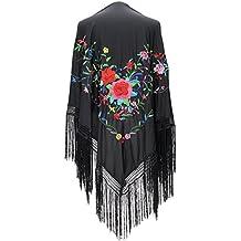La Señorita Mantones bordados Flamenco Manton de Manila Grande negro flores  de colores flecos negro 11301f0911f
