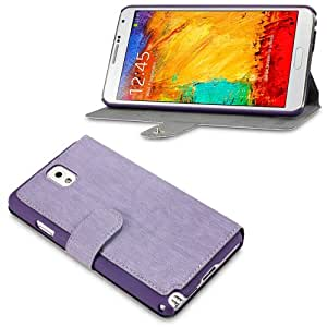 Samsung Galaxy Note 3 N9000 Slim Fit Wallet Case Cover With Viewing Stand The Keep Talking Shop® (Purple)