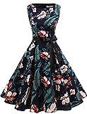 Gardenwed Damen 1950er Vintage Cocktailkleid Rockabilly Retro Schwingen Kleid Faltenrock Navy Flower XS