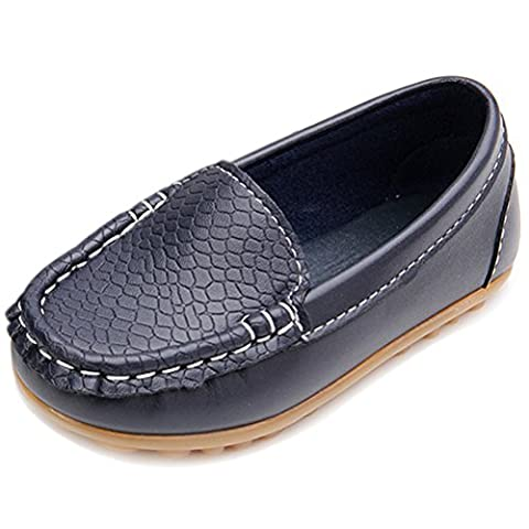 Femizee Kid Boys Girls Casual Dress Slip On Moccasin PU Leather Loafer Shoes,Dark Blue,2 UK