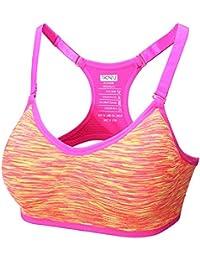 a9b953b7ec Junlan Women s Sports Bra Pullover Open-Back High Impact Support Active Yoga