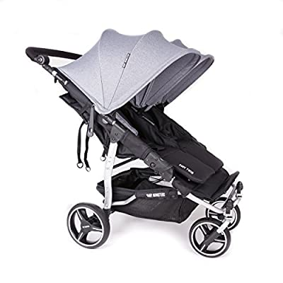 NUEVA Silla Gemelar Easy Twin 3.0.S ( Silver ) con capota normal Baby Monsters - Color Gris Marengo + REGALO de dos Sacos para silleta