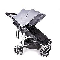 NUEVA Silla Gemelar Easy Twin 3.0.S ( Silver ) con capota normal Baby Monsters - Color Gris Marengo + REGALO de dos Sacos para silleta