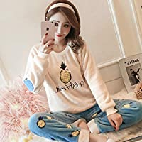 Yshuiyi Pijamas Invierno De Manga Larga Mujeres Pijamas Conjunto De Dibujos Animados Piña Coral Polar Grueso Cálido Pijamas Conjunto Femenino De Franela Hogar Ropa De Dormir Traje