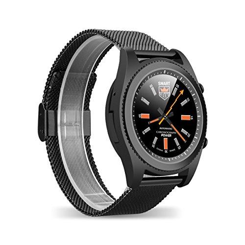 DT NO.I S9 Bluetooth 4.0 NFC Smartwatch Monitor de Frecuencia Cardiaca DIY Watchface Llamado Mensaje Recordatorio Pedometer Sedentario Monitor de Sueño Notificaciones Música y Cámara Anti-perdida Rastreador deportivo y de salud para Android e IOS (negro)