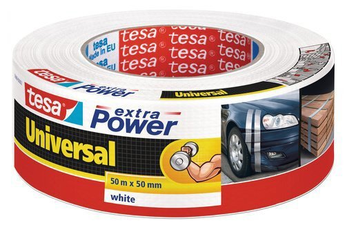 Tesa Ruban Extra Power Universal, Réparation 50 m x 50 mm, Blanc, Standard