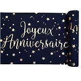 Chal - Chemin de table bleu marine et or Joyeux Anniversaire x 3 mètres