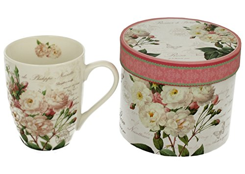 Kaffeebecher Kaffeetasse Tasse groß weiß Motiv Blumen Porzellan Teetasse große Geschenktasse Rosentasse Trinkbecher Mug Cup 320 ml von DUO Set mit Geschenk Box (White Rose) (White Tasse Rose)