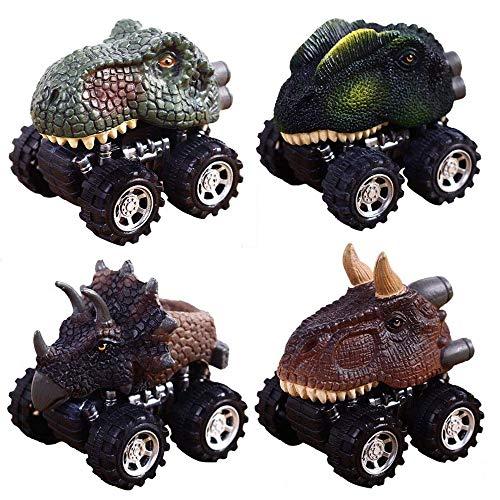 Dinosaurier Spielzeug Autos für Jungen Kleinkinder, CYMY Dinosaurier Zurückziehen Autos für Kinder 2-9 Jahre alt Jungen Spielzeug Weihnachtsgeschenke Geburtstagsgeschenk (4 Stück)