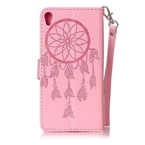 Hülle für Sony Xperia XA, Tasche für Sony Xperia XA, Case Cover für Sony Xperia XA, ISAKEN Blume Schmetterling Muster Folio PU Leder Flip Cover Brieftasche Geldbörse Wallet Case Ledertasche Handyhülle Dream Catcher Pink