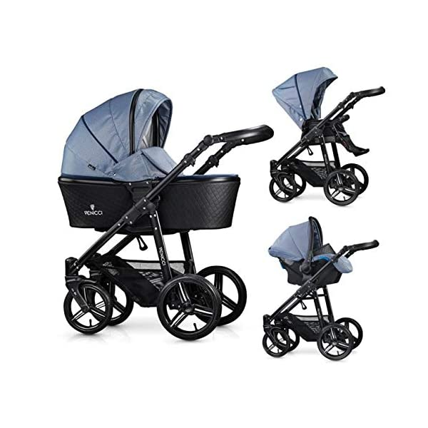 Venicci Shadow 3-in-1 Travel System - Midnight Blue - with Carrycot + Car Seat + Changing Bag + Apron + Raincover + Mosquito Net + 5-Point Harness and UV 50+ Fabric + Car Seat Adapters + Cup Holder Venicci 3 in 1 Travel System with included Group 0+ Car Seat Suitable for your baby from birth until 36 months 5-point harness to enhance the safety of your child 1