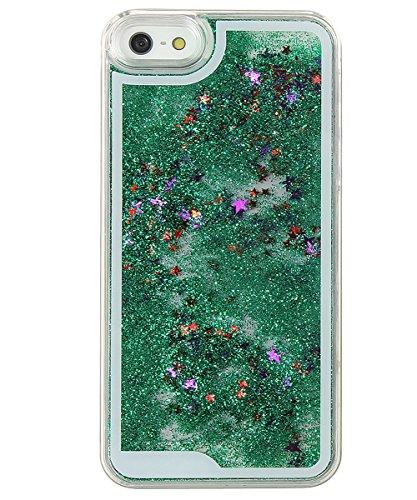 Coque pour iPhone 5 5S, ISAKEN Transparente Liquide Étoile Paillette Brillante Plastique Arrière Protecteur Dur Etui Housse de Protection Étui Coque Strass Case Cover pour Apple iPhone 5 5S (Étoile Ar Étoile Vert