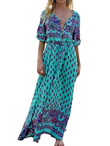 Yidarton Robe Femme Bohème Impression Manche 1/2 Col V Chic Été Floral Robe Maxi Robe de Cocktail Soirée Ceremonie Plage (Bleu 3, Medium)