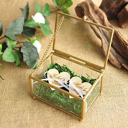 Ring Box Kupfer Hochzeit Ring Inhaberaktien Box Glasmalerei Ring Kissen Sechseck-box Geometrische Schmuck Box ()