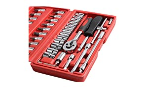 Juego de llaves de carraca para reparación de coches (46 piezas), color rojo