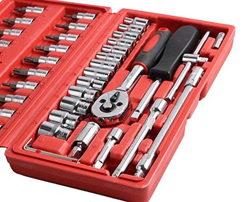 46 pcs Clé à douille 1/4 \ de voiture Outil de réparation Ensemble de clé à cliquet pour auto réparation MMO (couleur : rouge)