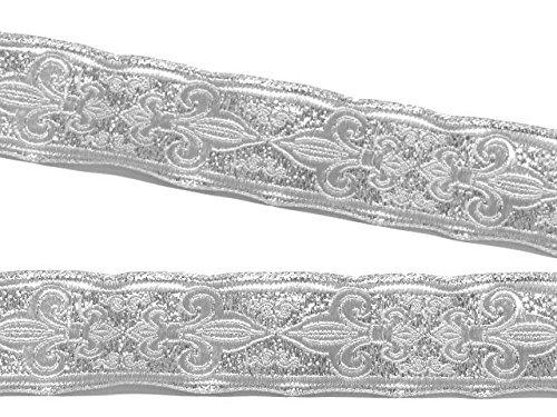 10m Französische Lilie Borte Fleur de Lis Webband 35mm Farbe: Lurex-Silber von 1A-Kurzwaren 35063-si Jacquard-fleur De Lis