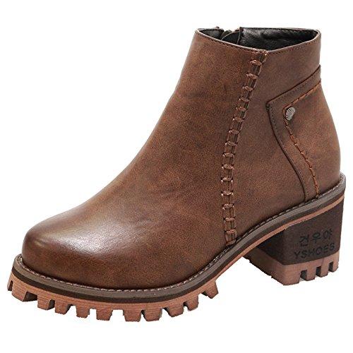 &ZHOU Stivali autunno e l'inverno stivali brevi donne adulte 'Martin stivali stivali cavaliere a5-4 Dark Brown