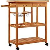 Homcom–05–0014, Carrello da cucina, legno, naturale, 81x 38x 85,5cm immagine