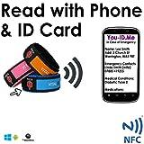 Medizinisches Notfallarmband, mit Speicherkarte, für Erwachsene und Kinder, Kartenfach 100 % wasserdicht und reißfest, zum Speichern unbegrenzter lebensrettender Informationen und Notfallkontakte, lebenslang aktiv
