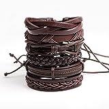FGSJEJ Bracelets tressés en cuir pour hommes et femmes Bracelets en corde de cire pour la mode Bracelet en bracelets de six pièces Bracelets en combinaison divers (Couleur : Marron)