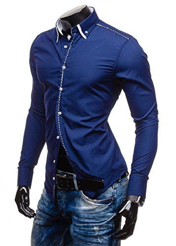 BOLF – Chemise casual – avec manches longues – BOLF 4797 – Homme Bleu foncé