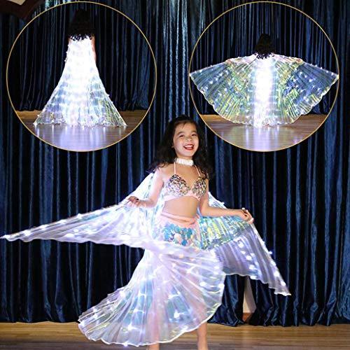 Dasongff LED Isis Flügel Tanz Kinder Schmetterling Performance Kleidung Karneval Halloween Mit Teleskopsticks fur Mädchen spaß Darstellende Künste Halloween Cosplay Party (A, 1PC Flügel)