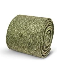 Frederick Thomas plain khaki green linen men's tie