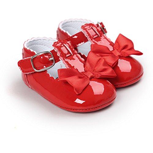 MiyaSudy Kleinkind Säuglingsbaby Mädchen weiche Sole Bowknot Princess Mary Jane Schuhe Rot