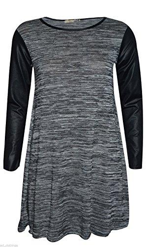 NEW Effet Mouillé pour femme en tricot à manches longues robe Patineuse Swing Taille 8–14 Charcoal Wetlook Sleeve