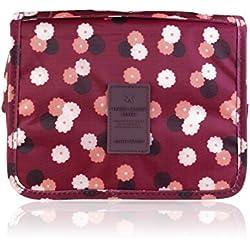ULTNICE Bolso Cosmético Impermeable del maquillaje del bolso Bolso del almacenaje del almacenaje del bolso de la toalla con el gancho colgante para viajar rojo