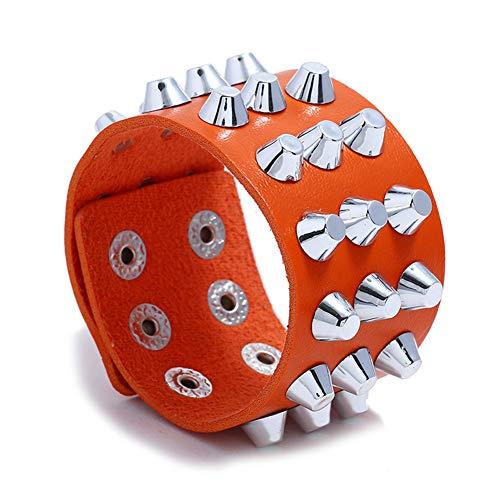 Z&HA Rivet Spiked Bracelet Gothic Wide Bangle, Women es Leather Strap Cuff, Studded Punk Rock Biker Bracelet Spike Wristband for Party Gift Valentine Club Bar,Orange