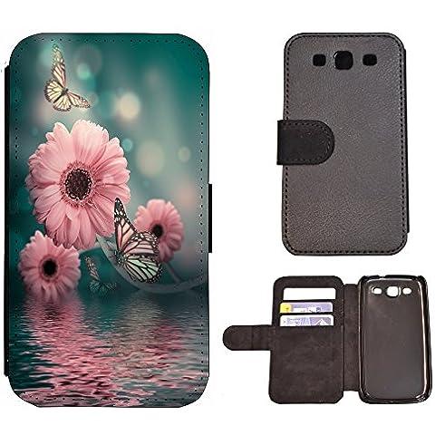 Flip Cover Funda de piel Funda Case Para (Samsung Galaxy S3Neo, 1294Flores Mariposas, Rosa,