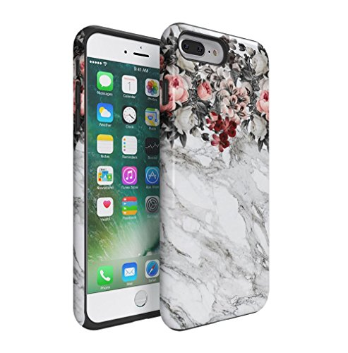 Pink Flowers Boquet Light Grey Marble Stone Apple iPhone 7 PLUS Silicone Inner & Outer Hard PC Shell 2 Piece Hybrid Armor Case Cover (Pink Flower Jewel Snap)