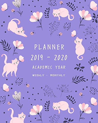 Planner 2019-2020 Academic Year: 8x10 Weekly and Monthly Organizer from July 2019 to June 2020 | Cat Butterfly Ladybug Floral Design Blue-Violet (Blue Designs Butterfly)