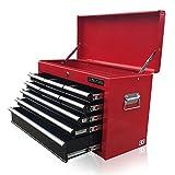 Erschwinglicher rot-schwarzer Werkzeugkasten von US Pro Tools, mit 9 Schubladen, Kugellagerschublade