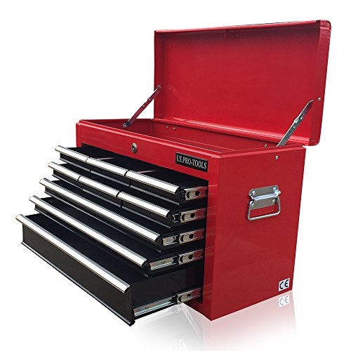 Erschwinglicher rot-schwarzer Werkzeugkasten von US Pro Tools, mit 9 Schubladen, Kugellagerschublade - 9 Schubladen Werkzeug