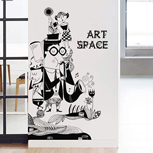YUSDK Persönlichkeit wandaufkleber Aufkleber Mode schaufenster Wohnzimmer Flur studienraum Zeichnung verzierung schwarz-weiß Zeichen (Und Schwarzen Weißen Verzierungen)