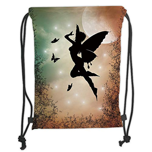 Icndpshorts Apartment Decor,Black Fairy with Angel Wings Butterflies and Sun Like Alluring Round Light,Multicolor Soft Satin,5 Liter Capacity,Adjustable String Closur