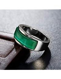 Joya Retro ópalo Jade Verde Hombres y Mujeres Anillo de Acero Titanio HF026, Acero Piedra Verde, 9