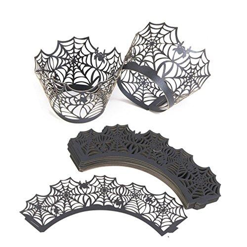 50x Milopon Lasergeschnittenes Cupcake Verpackungen Spinnweben Kuchen Pappbecher Kuchenverpackung für Halloween Party Dekoration
