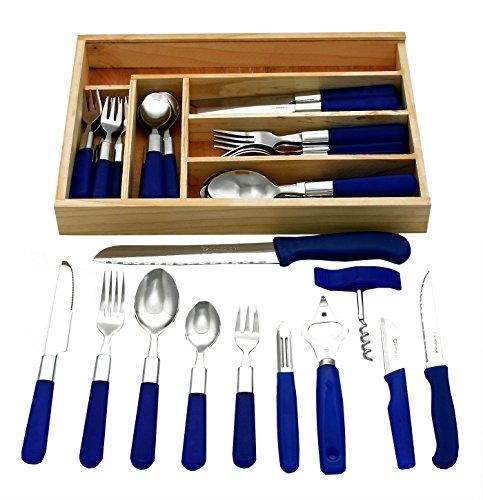 GRÄWE 37-teiliges Starter-Set 'Milano' aus 30-teiligem Menübesteck, 6 Haushaltmesser / Küchenhelfer und Schubladeneinsatz