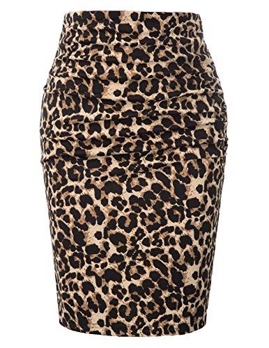 GRACE KARIN Mujer Falda de Tubo Corta Leopardo para Fiesta por la Rodilla Tamaño M CLE02209-2
