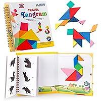 Coogam  Viajes Tangram Puzzle con 3 Set de  Tangram magnético - Viaje Tangos Rompecabezas  Formas Disección Juegos con Solución - Libro de inteligencia Juguete educativo
