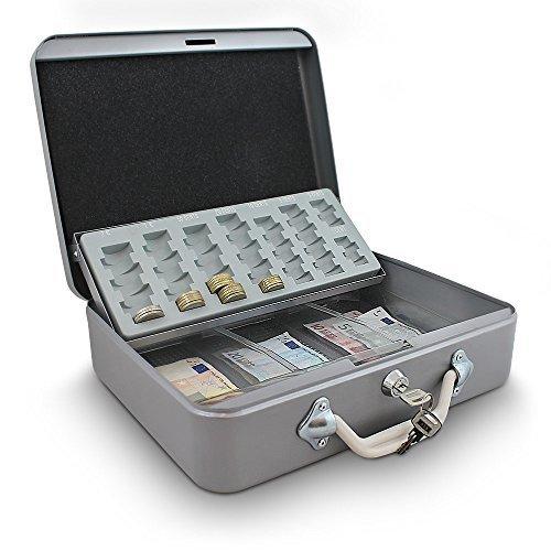 30cm Hellgrau Geldtransportbox Geldkassette Münzzählbrett Zähl- und Transportkassette Münzkassette Geld Kasse Geldkasse Transportbox 300mm